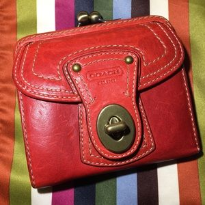 Coach Legacy French kisslock red leather wallet